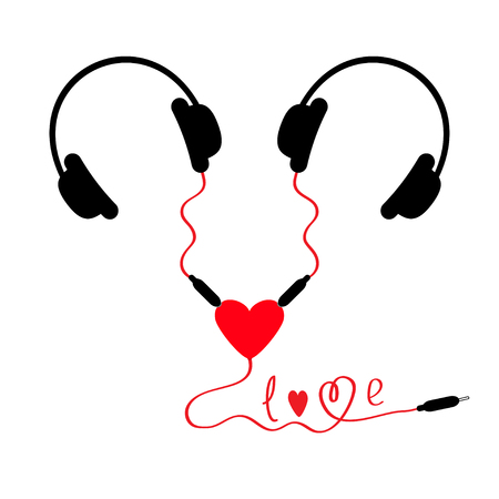 adapter: Two headphones. Earphones couple Audio splitter adapter heart. Red cord in shape of word love. White background. Isolated. Flat design.  Vector illustration Illustration