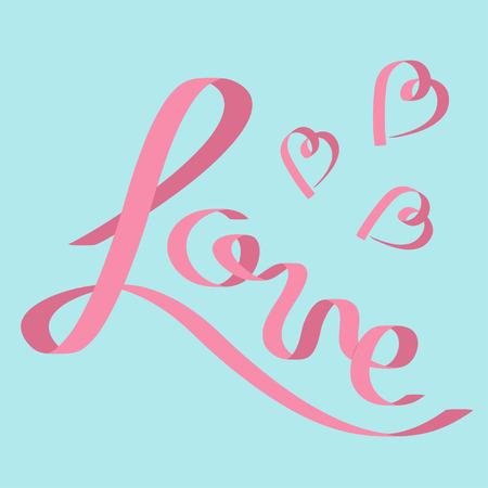 pink satin: Pink satin ribbon in shape of word Love. Three hearts. Flat design. Blue background. Vector illustration Illustration