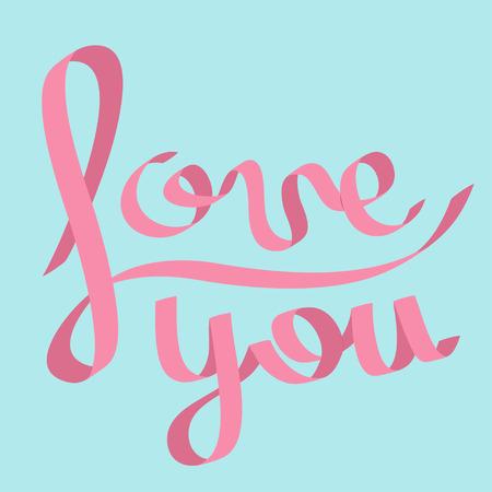 pink satin: Pink satin ribbon in shape of word Love you. Calligraphic. Flat design. Blue background. Vector illustration Illustration