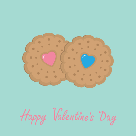crispy: Two biscuit cookie cracker with pink and blue heart . Happy Valentines Day. Flat design. Vector illustration.