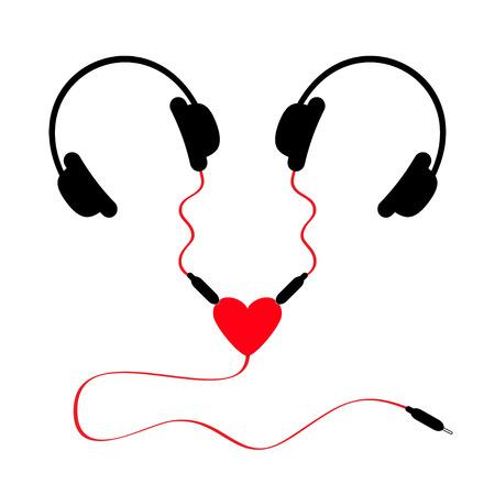 splitter: Two headphones. Earphones couple Audio splitter adapter heart. Red cord. White background. Isolated. Flat design. Vector illustration
