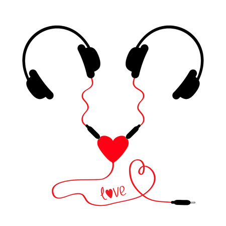 adapter: Two headphones. Earphones couple Audio splitter adapter heart. Red cord. Word love. Isolated. White background. Flat design. Vector illustration Illustration