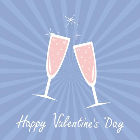 quartz: Champagne glasses. Sunburst . Happy Valentines Day card. Rose quartz serenity color background. Vector illustration Illustration