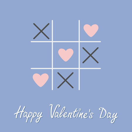 tic tac toe: Tic tac toe game with cross and three heart sign mark Happy Valentines day card Flat design Rose quartz serenity color background Vector illustration