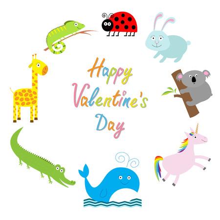 giraffe frame: Happy Valentines Day. Love card. Cute animal frame. Baby background. Ladybug, koala, whale, rabbit, unicorn alligator, giraffe and iguana. Flat design Vector illustration