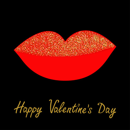 glitter makeup: Big full thick red lips with gold glitter on black background. Isolated Flat design Happy Valentines Day. Love card. Vector illustration