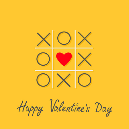romance strategies: Happy Valentines Day. Love card. Tic tac toe game with cross and red heart sign mark in the center Flat design Yellow background. Vector illustration