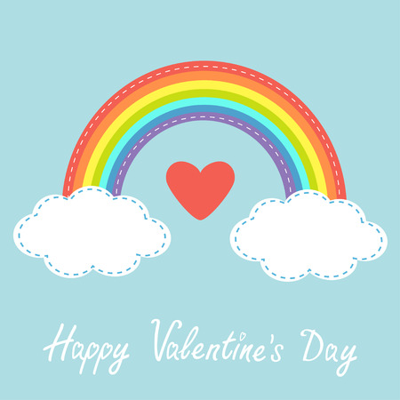 rainbow sky: Happy Valentines Day. Love card. Red heart. Rainbow in the sky. Dash line cloud. Flat design style. Vector illustration