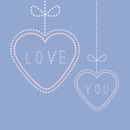 quartz: Two hanging hearts with bows. Love greeting card. Flat design style. Rose quartz serenity color background. Vector illustration