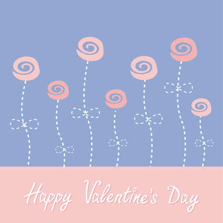 stalks: Roses with dash line stalks. Happy Valentines Day. Love card. Rose quartz serenity color. Vector illustration