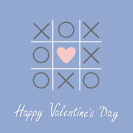 romance strategies: Tic tac toe game with cross and heart sign mark Happy Valentines day card. Flat design. Rose quartz serenity color background Vector illustration