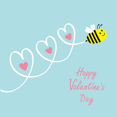 bumblebee: Happy Valentines Day. Love card. Cute flying bee. Three hearts in the sky. Baby background. Flat design. Vector illustration Illustration