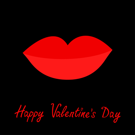 plump lips: Happy Valentines Day. Love card. Big full thick red lips on black background. Isolated Flat design Vector illustration