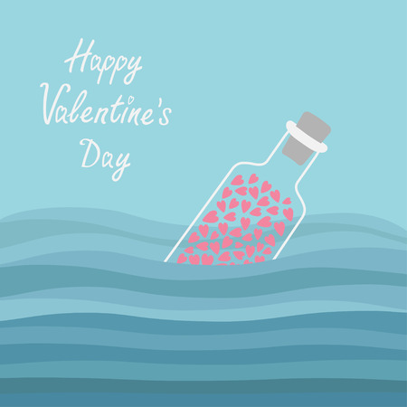 bung: Happy Valentines Day. Love card. Bottle with hearts inside in the ocean sea water and waves. Vector illustration