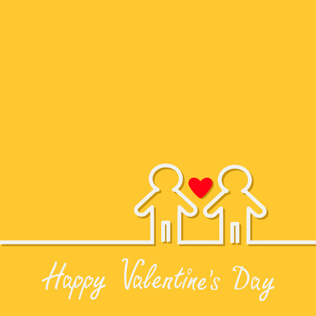 sex discrimination: Happy Valentines Day. Love card. Gay marriage Pride symbol Two contour man sign LGBT icon White line. Red heart Flat design. Vector illustration Illustration