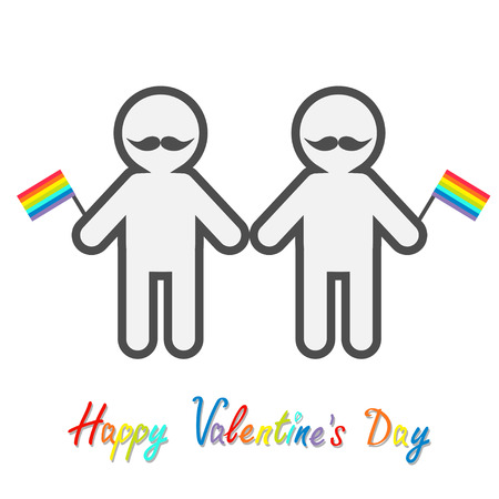 Happy Valentines Day. Love card. Gay marriage Pride symbol Two contour man with mustaches and rainbow flags LGBT icon Flat design. Vector illustration Illustration