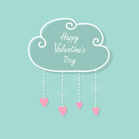 cloud shape: Happy Valentines Day. Love card. Cloud with hanging rain button drops, bow. Heart shape. Dash line Flat design Pink, blue color background. Vector illustration