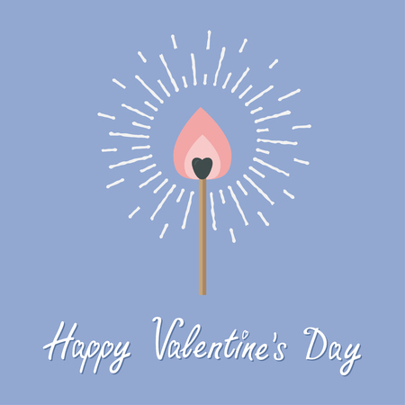 burning love: Burning love match with pink fire light shining sunlight effect. Flat design style. Happy Valentines day Rose quartz serenity color. Vector illustration