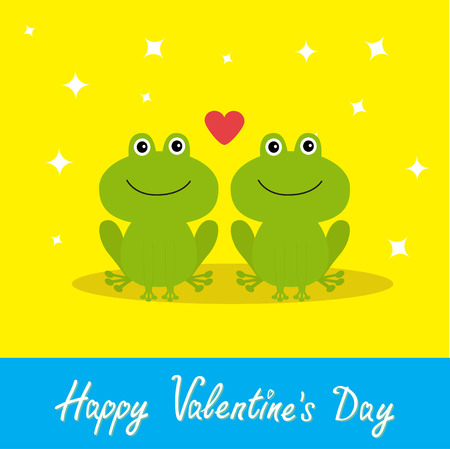 anuran: Happy Valentines Day. Love card. Two cute frogs. Red heart. Baby background Flat design Sparkles. Vector illustration Illustration