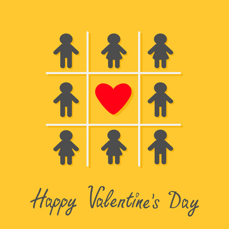 toes: Happy Valentines Day. Love card. Man Woman icon Tic tac toe game. Red heart sign Yellow background Flat design Vector illustration Illustration