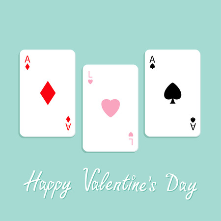 ace of spades: Happy Valentines Day. Love background. Poker playing card combination with ace of spade, diamond and heart sign Flat design. Vector illustration Illustration