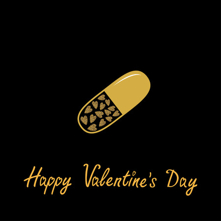rich in vitamins: Happy Valentines Day. Love card. Medical pill with hearts inside. Gold sparkles glitter texture Black background. Vector illustration