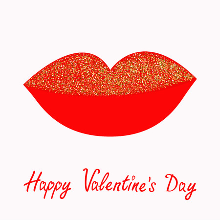 full day: Big full thick red lips with gold glitter on white background. Isolated Flat design Happy Valentines Day. Love card. Vector illustration