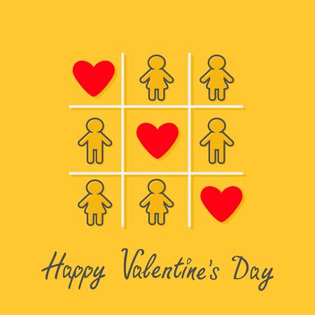nene y nena: Feliz día de San Valentín. Tarjeta del amor. Hombre Mujer línea de contorno icono de Tic tac toe juego. Tres muestra roja del corazón Fondo amarillo Diseño plano ilustración vectorial Vectores