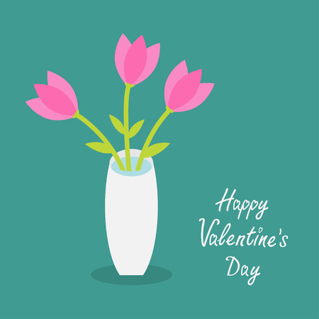 white tulip: Happy Valentines Day. Love card. Bouquet of pink tulip flowers in a vase. Flat design. Vector illustration