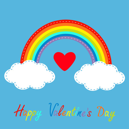 shiny heart: Happy Valentines Day. Love card. Big red heart. Rainbow in the sky. Dash line cloud. Flat design style. Vector illustration