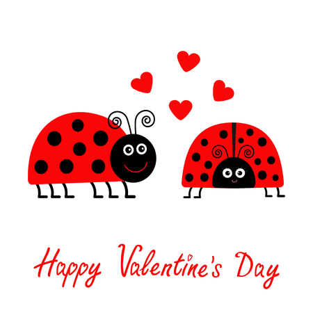 Happy Valentines Day. Love card. Two cartoon pink lady bug couple with hearts Flat design. Vector illustration