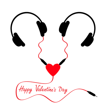 splitter: Happy Valentines Day. Two headphones. Earphones couple Audio splitter adapter heart. Red cord. Love greeting card. White background. Isolated. Flat design. Vector illustration
