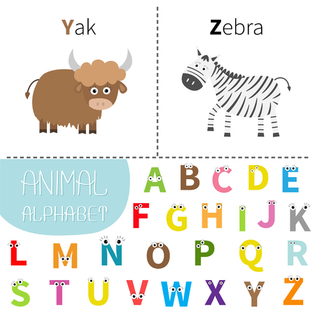 zebra face: Letter Y Z Yak Zebra Zoo alphabet. English abc with animals  Letters with face, eyes. Education cards for kids Isolated White background Flat design Vector illustration Illustration