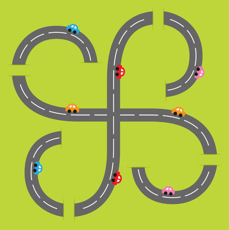 marking: Background with two curling road white marking and cartoon cars. Flat design. Vector illustration