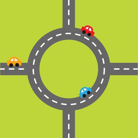 marking: Road white marking and cartoon cars. Circle round crossroad. Design element set. Flat design. Vector illustration