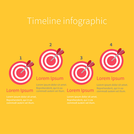 numers: Infographic Timeline four step round circle target. Numers. Template. Flat design. Yellow background. Vector illustration Illustration