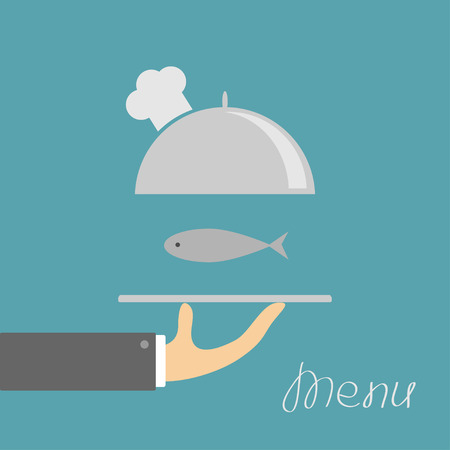 chrome man: Hand holding silver platter cloche with chefs hat and fish. Menu card. Blue background. Flat design. Vector illustration Illustration