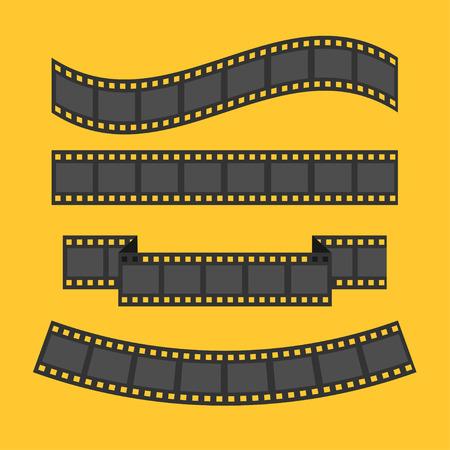 night background: Film strip frame set. Different shape ribbon. Design element. Yellow background. Flat design. Vector illustration