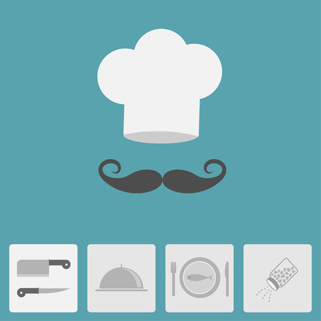 fish plate: Chef hat with moustache. Icon set. Silver platter cloche, knife, fish plate, fork, salt shaker. Menu card. Flat design. Blue background. Vector illustration