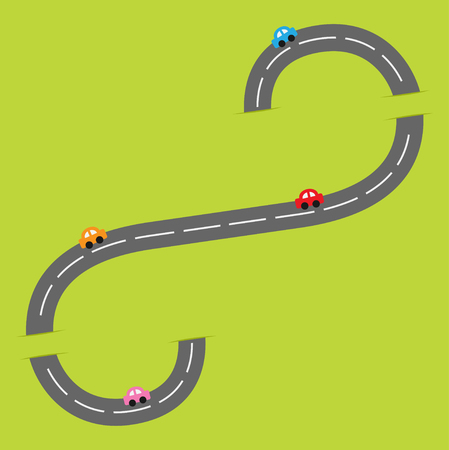 marking: Background with grey road white marking and cartoon cars. Flat design. Vector illustration