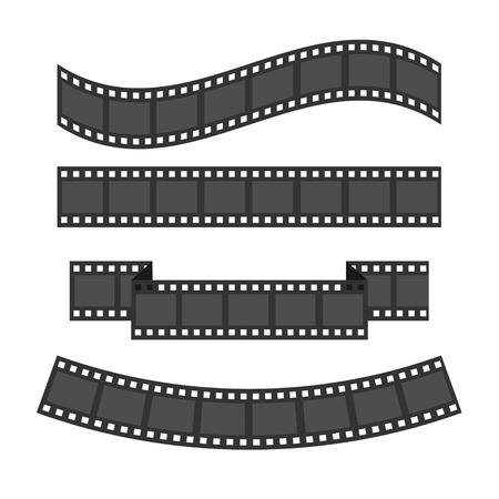 Conjunto del marco de la tira de película. cinta de forma diferente. elemento de diseño. Fondo blanco. Aislado. Diseño plano. ilustración vectorial