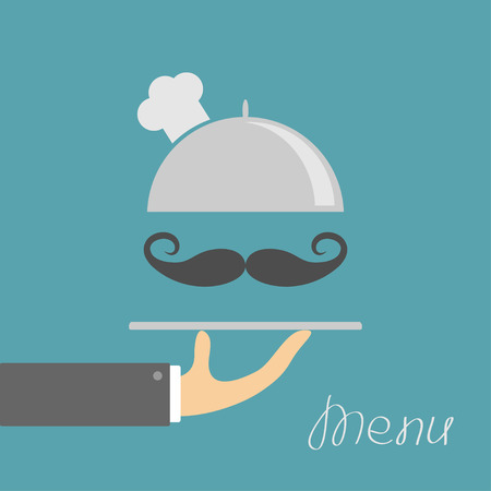 chrome man: Hand holding silver platter cloche with chefs hat. Menu card. Blue background. Flat design. Vector illustration