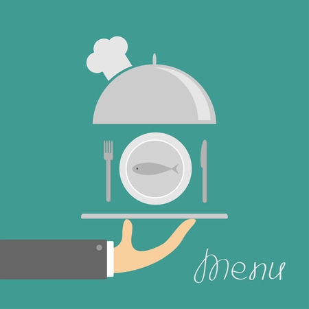 chrome man: Hand holding silver platter cloche with chefs hat and plate fish, fork, knife. Menu card. Green background. Flat design. Vector illustration