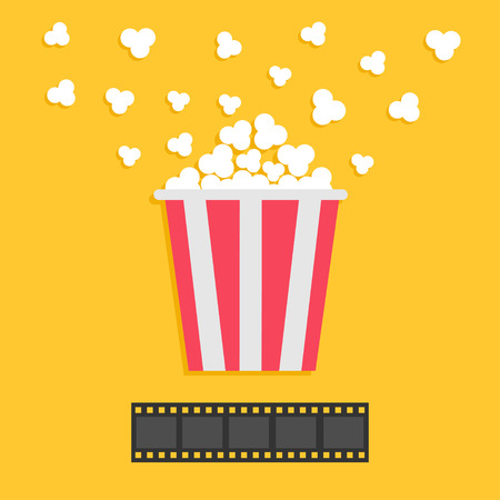 popping: Popcorn popping. Film strip. Red yellow box. Cinema movie night icon in flat design style. Yellow background. Vector illustration