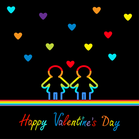 sex discrimination: Happy Valentines Day. Love card. Gay marriage Pride symbol Two contour rainbow line woman LGBT icon. Hearts. Flat design. Black background. Vector illustration