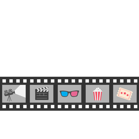clapper board: Film strip icon set. Popcorn, clapper board, 3D glasses, ticket, projector. Cinema movie night.  Isolated. White background Flat design style. Vector illustration