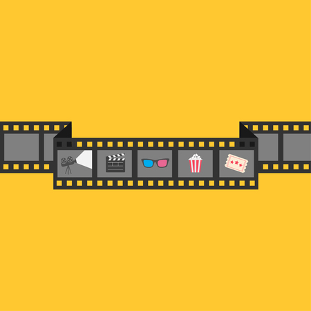 cinema film: Film strip icon set. Popcorn, clapper board, 3D glasses, ticket, projector. Cinema movie night. Flat design style. Yellow background. Vector illustration