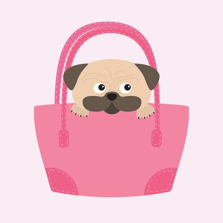 パグ犬は、袋に入れてモップします。かわいい漫画のキャラクター。フラットなデザイン。分離されました。ワイトの背景。ベクトル図  イラスト・ベクター素材