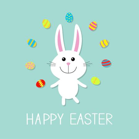 Felices Pascuas. Conejo de conejito lindo malabares huevo. Diseño plano. ilustración vectorial