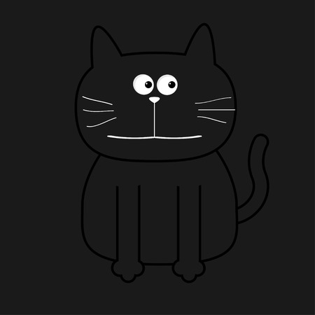 black head and moustache: Cute contour cat. Flat design. Black background. Vector illustration